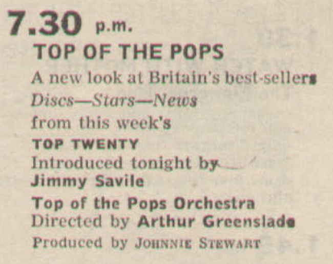 Radio Times billing for the 200th edition of Top Of The Pops (BBC1, 1967).