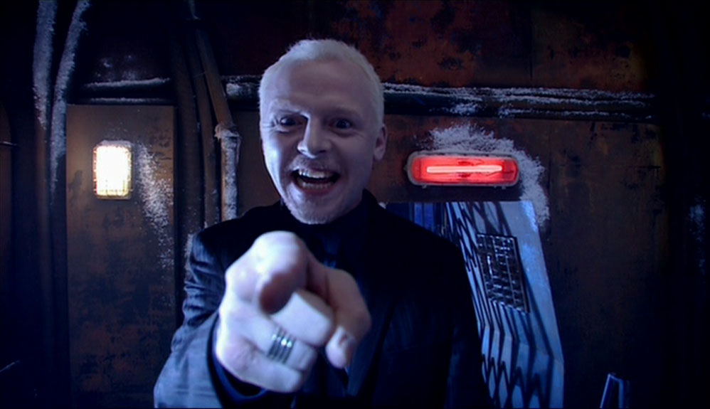 Simon Pegg as The Editor in Doctor Who - The Long Game (BBC1, 2005).