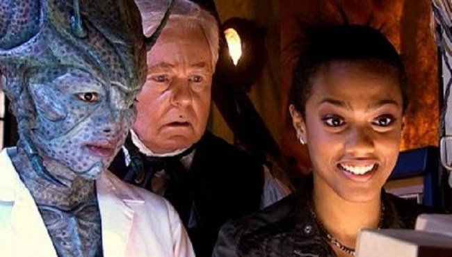Chipo Chung as Chantho, Derek Jacobi as Professor Yana and Freema Agyeman as Martha Jones in Doctor Who - Utopia (2007).