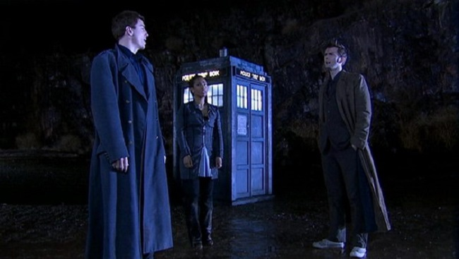 John Barrowman as Captain Jack Harkness, Freema Agyeman as Martha Jones and David Tennant as The Doctor in Doctor Who - Utopia (2007).