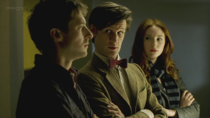 Arthur Darvill, Matt Smith and Karen Gillan in Doctor Who - Night Terrors (BBC1, 2011).