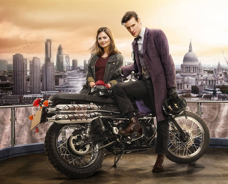Jenna Coleman and Matt Smith in Doctor Who - The Bells Of Saint John (BBC1, 2013).