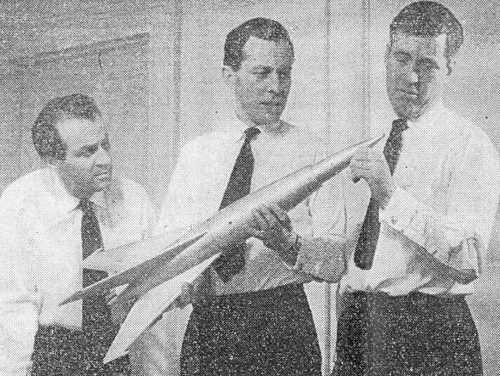 John Carson, Andrew Crawford and Barrie Gosney in Orbiter X (BBC Light Programme, 1959).