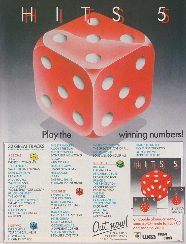 Hits 5 (CBS/WEA, 1986).
