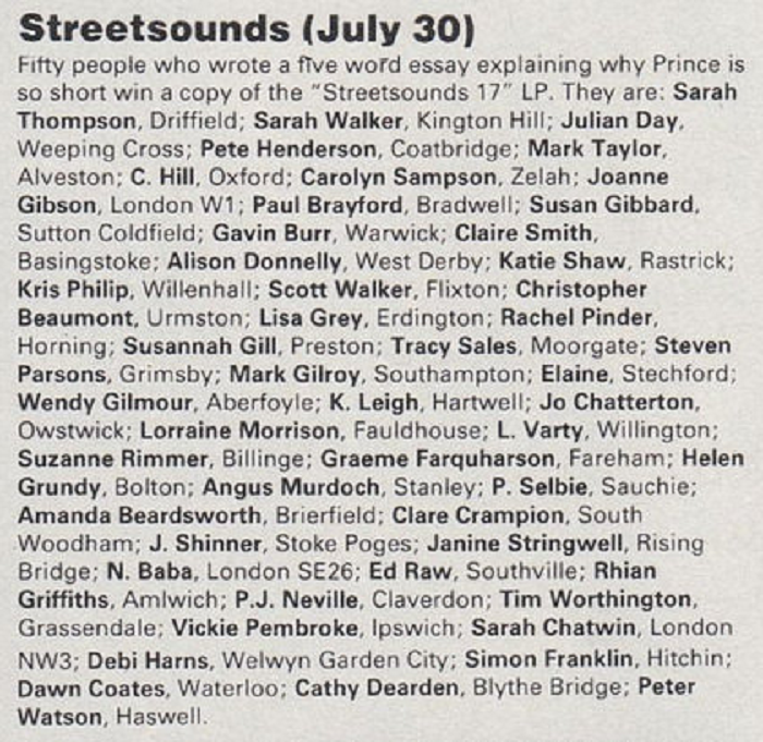 Streetsounds 17 Competition Winners from Smash Hits, 24th September - 7th October 1986.