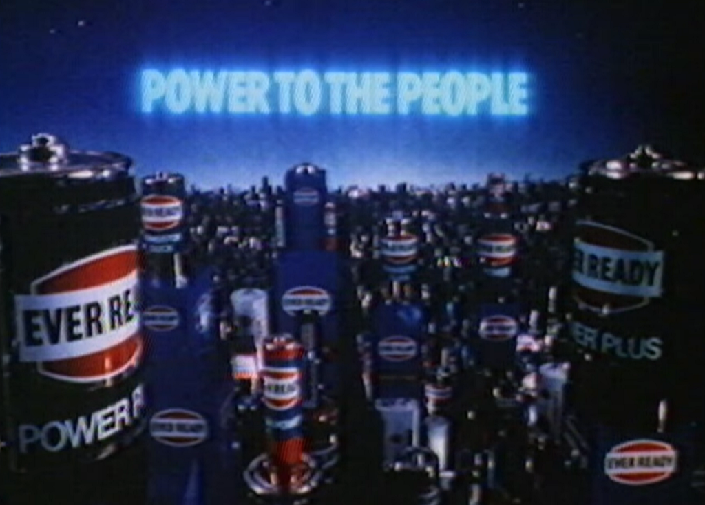 Ever Ready 'Power To The People' advert (1982) - listen to Emma Burnell and Tim Worthington chatting about it in Looks Unfamiliar.