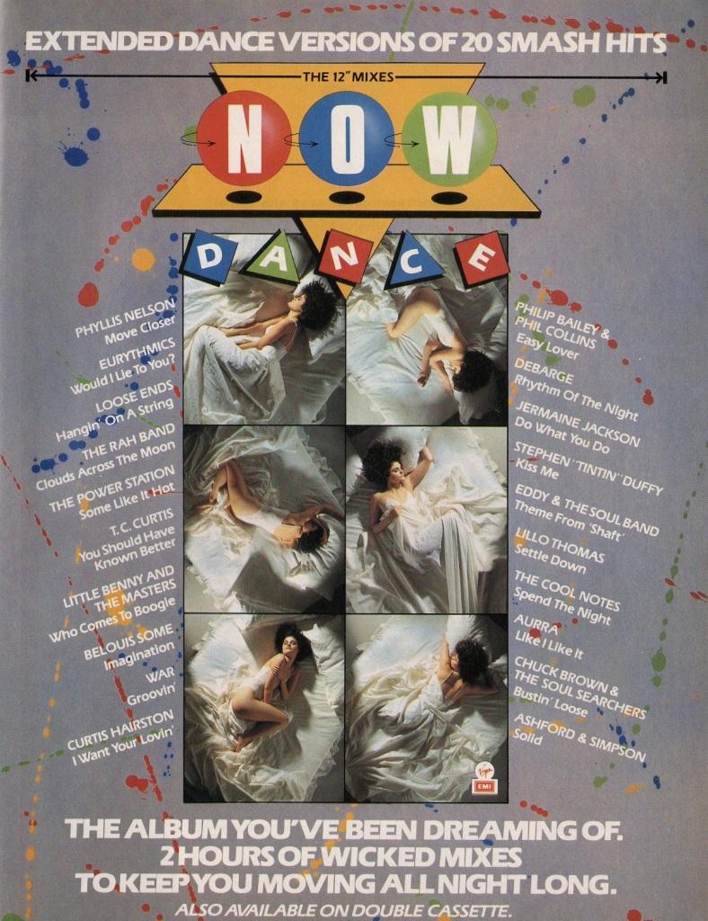 Smash Hits advert for Now Dance (EMI/Virgin, 1985).