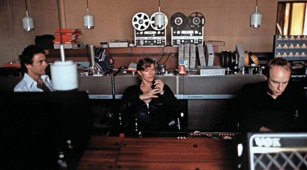 Robert Fripp, David Bowie and Brian Eno recording 'Heroes' in 1977.