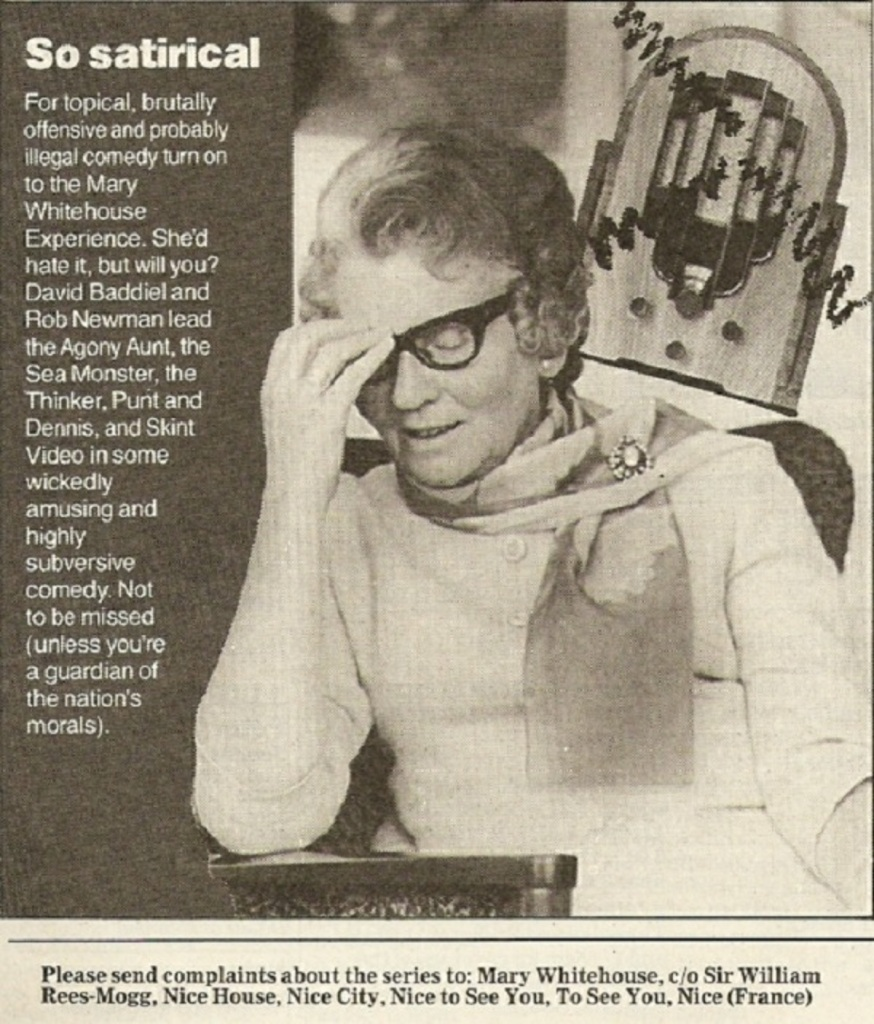 Radio Times listing for The Mary Whitehouse Experience (BBC Radio 1, 1989-91).
