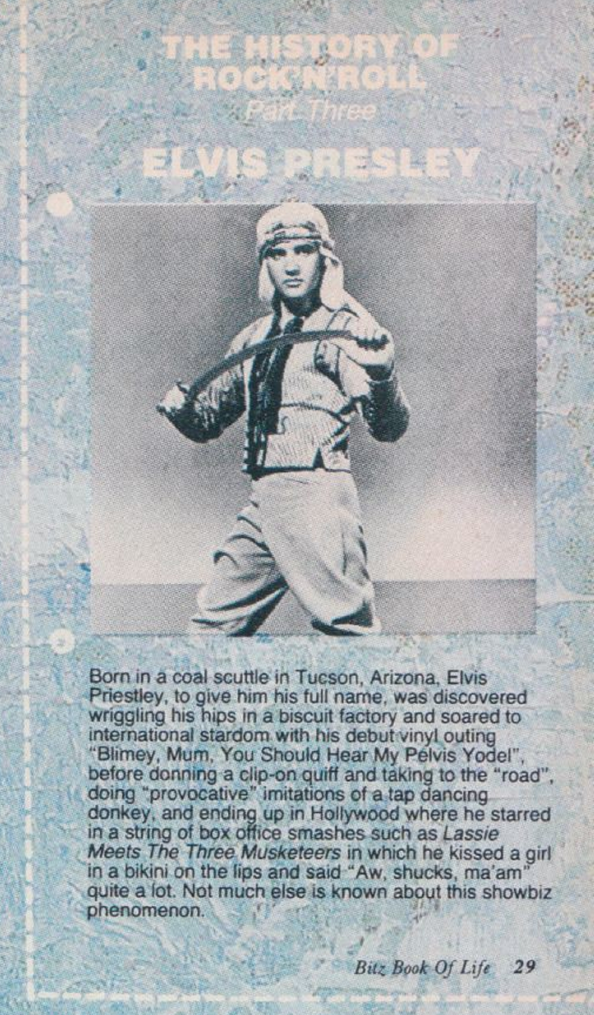 The History Of Rock'N'Roll Part Three: Elvis Presley from Smash Hits (1986).