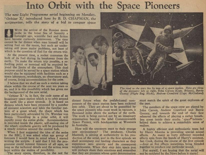 Radio Times listing for Orbiter X (BBC Light Programme, 1959).