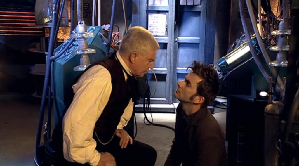 Derek Jacobi as The Master and David Tennant as The Doctor in Doctor Who: Utopia (BBC1, 2007).