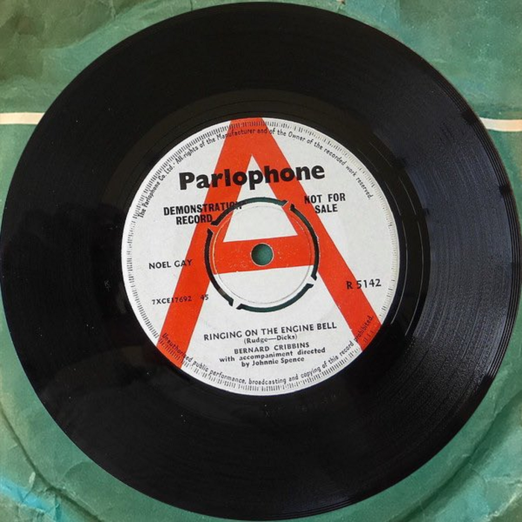 Ringing On The Engine Bell by Bernard Cribbins (Parlophone, 1964) - listen to Tim Worthington talking to Paul Abbott about Bernard Cribbins' pop career in (Music For) The Head Ballet.