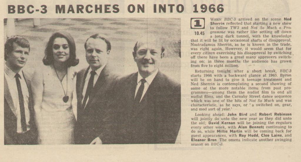 Radio Times listing for BBC-3 (BBC1, 1966).