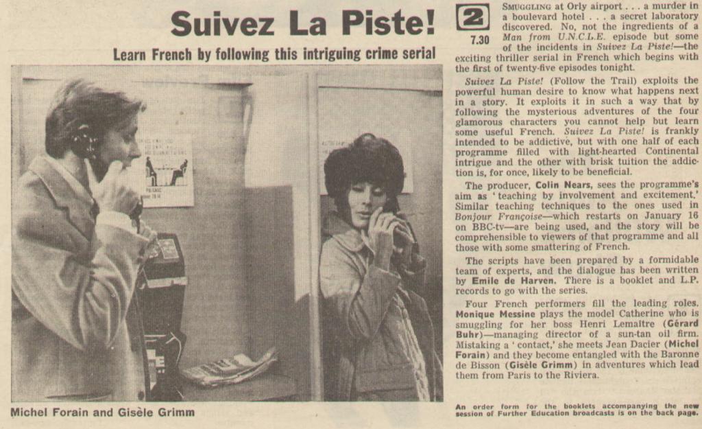 Radio Times listing for Suivez La Piste! (BBC1, 1966).